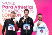 23 July 2017; Michael McKillop receives his Gold medal after he finished first in the Men's 1500m, T37 during day 10 of the 2017 Para Athletics World Championships at the Olympic Stadium in London, with, from left, Liam Stanley of Canada, Silver, and Madjid Djemai of Algeria, Bronze. Photo by Luc Percival/Sportsfile