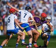 23 July 2017; Lee Chin of Wexford in action against Shane Fives, right, Philip Mahony, 7, and Tadhg de Búrca of Waterford during the GAA Hurling All-Ireland Senior Championship Quarter-Final match between Wexford and Waterford at Páirc Uí Chaoimh in Cork. Photo by Ray McManus/Sportsfile
