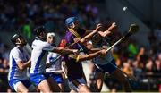 23 July 2017; Lee Chin and Jake Dillon of Waterford in action against Darragh Fives of Waterford during the GAA Hurling All-Ireland Senior Championship Quarter-Final match between Wexford and Waterford at Páirc Uí Chaoimh in Cork. Photo by Cody Glenn/Sportsfile