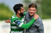23 July 2017; David Webster, left, celebrates with Shamrock Rovers team-mate Ronan Finn following their victory in the SSE Airtricity League Premier Division match between Dundalk and Shamrock Rovers at Oriel Park in Dundalk, Co. Louth. Photo by Ramsey Cardy/Sportsfile