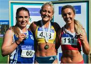 23 July 2017; Winner of the Women's 100m Hurdle event, Sarah lavin, centre, UCD AC, Co. Dublin, second placed,  Catherine McManus, left, Dublin City Harriers AC, and third placed, Lilly Ann O'Hora, Dooneen AC, Co.Kerry, during the Irish Life Health National Senior Track & Field Championships – Day 2 at Morton Stadium in Santry, Co. Dublin. Photo by Tomás Greally/Sportsfile