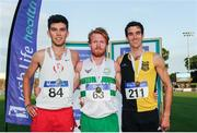 23 July 2017; Winner of the Men's 1500m event, Sean Tobin, centre, Clonmel AC, Co. Tipperary, second placed,  Kevin Kelly, left, St. Coca's AC, Co. Kildare, and third placed, Eoin Everard, Kilkenny City Harriers AC, during the Irish Life Health National Senior Track & Field Championships – Day 2 at Morton Stadium in Santry, Co. Dublin. Photo by Tomás Greally/Sportsfile