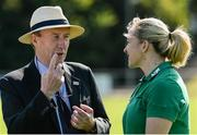 24 July 2017; Minister for Transport, Tourism and Sport, Shane Ross TD with Ireland captain Niamh Briggs during the Ireland Women's Rugby World Cup Squad Announcement at the UCD Bowl, in Belfield, Dublin. Photo by Piaras Ó Mídheach/Sportsfile