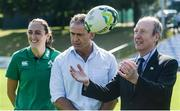 24 July 2017; Minister for Transport, Tourism and Sport, Shane Ross TD with Ireland head coach Tom Tierney and Ireland international Hannah Tyrrell during the Ireland Women's Rugby World Cup Squad Announcement at the UCD Bowl, in Belfield, Dublin. Photo by Piaras Ó Mídheach/Sportsfile