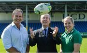 24 July 2017; Minister for Transport, Tourism and Sport, Shane Ross TD with Ireland head coach Tom Tierney and team captain Niamh Briggs during the Ireland Women's Rugby World Cup Squad Announcement at the UCD Bowl, in Belfield, Dublin. Photo by Piaras Ó Mídheach/Sportsfile