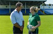 24 July 2017; Ireland head coach Tom Tierney and team captain Niamh Briggs during the Ireland Women's Rugby World Cup Squad Announcement at the UCD Bowl, in Belfield, Dublin. Photo by Piaras Ó Mídheach/Sportsfile