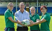 24 July 2017; Ireland head coach Tom Tierney with his players, from left, Hannah Tyrrell, Niamh Briggs, and Lindsay Peat during the Ireland Women's Rugby World Cup Squad Announcement at the UCD Bowl, in Belfield, Dublin. Photo by Piaras Ó Mídheach/Sportsfile
