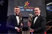 3 November 2017; Hurler of the Year Joe Canning of Galway, left, and Footballer of the Year Andy Moran of Mayo during the PwC All Stars 2017 at the Convention Centre in Dublin. Photo by Brendan Moran/Sportsfile