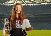 26 March 2012; Ladies Gaelic stars of tomorrow gathered in Croke Park today ahead of the Tesco Post Primary Schools Junior All-Ireland Finals which take place on Saturday 31st March. Schools from Tipperary, Tyrone, Galway, Wexford and Dublin have reached this year's Tesco Junior A, B and C finals. Pictured is Niamh McGirr, captain of Loreto Grammer, Omagh, Co. Tyrone, with the Junior A trophy ahead of the final this weekend. Croke Park, Dublin. Picture credit: Paul Mohan / SPORTSFILE