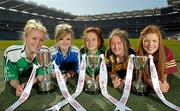 26 March 2012; Ladies Gaelic stars of tomorrow gathered in Croke Park today ahead of the Tesco Post Primary Schools Junior All-Ireland Finals which take place on Saturday 31st March. Schools from Tipperary, Tyrone, Galway, Wexford and Dublin have reached this year's Tesco Junior A, B and C finals. Pictured are captains, from left, Hannah Murphy, St. Mary's, New Ross, Co. Wexford, Darina Keane, Scoil Bhride Mercy, Tuam, Co. Galway, Olivia Divilly, Dunmore Community School, Co. Galway, Eabha Ruitleis, Coláiste Íosagáin, Stillorgan, Co. Dublin, and Niamh McGirr, Loreto Grammer, Omagh, Co. Tyrone. Croke Park, Dublin. Picture credit: Paul Mohan / SPORTSFILE