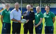 24 July 2017; Minister for Transport, Tourism and Sport, Shane Ross TD and Ireland head coach Tom Tierney with his players, from left, Hannah Tyrrell, Niamh Briggs, and Lindsay Peat during the Ireland Women's Rugby World Cup Squad Announcement at the UCD Bowl, in Belfield, Dublin. Photo by Piaras Ó Mídheach/Sportsfile