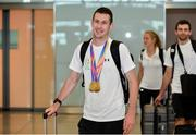 24 July 2017; Team Ireland athlete, Micheal McKillop, who won gold in both the T38 800m and T37 1500m, pictured during the Homecoming of the Irish Team from the World Para Athletics Championships in London at Dublin Airport. Photo by Sam Barnes/Sportsfile