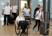 24 July 2017; Team Ireland athlete Deirdre Mongan, centre, who competed in the F53 shot put, and Team Ireland backroom staff during the Homecoming of the Irish Team from the World Para Athletics Championships in London at Dublin Airport. Photo by Sam Barnes/Sportsfile