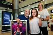 24 July 2017; Team Ireland Athlete Niamh McCarthy, who won silver in the F41 Discus, pictured with her parents Caroline and Flor during the Homecoming of the Irish Team from the World Para Athletics Championships in London at Dublin Airport. Photo by Sam Barnes/Sportsfile