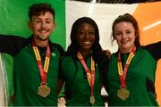 24 July 2017; Team Ireland's medallists, from left, John Fitzsimons who won bronze in the 800m, Gina Apke-Moses, who won gold in the 100m and Michaela Walsh who won bronze in the Women's Hammer, pictured during the Homecoming of the Irish Team from the European Athletics Under-20 Championships in Italy at Dublin Airport. Photo by Sam Barnes/Sportsfile