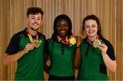 24 July 2017; Pictured are, from left to right, John Fitzsimons, who won bronze in the men's 800m, Gina Akpe-Moses, who won gold in 100m Women, and Michaela Walsh, who won bronze in the Hammer, at the homecoming of the Irish Team from the European Athletics Under-20 Championships in Italy at Dublin Airport. Photo by Sam Barnes/Sportsfile
