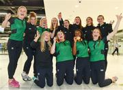 24 July 2017; Pictured are Michaela Walsh, second, from left, who won bronze in the Hammer, and Gina Akpe-Moses, second from right, who won gold in the 100m's, with their team-mates at the homecoming of the Irish Team from the European Athletics Under-20 Championships in Italy at Dublin Airport. Photo by Sam Barnes/Sportsfile