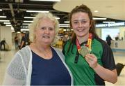 24 July 2017; Michaela Walsh, who won bronze in the Hammer, pictured with Athletics Ireland President Georgina Drumm at the homecoming of the Irish Team from the European Athletics Under-20 Championships in Italy at Dublin Airport. Photo by Sam Barnes/Sportsfile