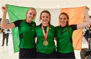 24 July 2017; Michaela Walsh, who won bronze in the Hammer, centre with teammates Mollie O'Reilly, left, and Elizabeth Morland, during the Homecoming of the Irish Team from the European Athletics Under-20 Championships in Italy at Dublin Airport. Photo by Sam Barnes/Sportsfile