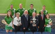 25 July 2017; In attendance at the M.Donelly Poc Fada Finals Launch are, front row from left, Faye McCarthy of Dublin, Ard Stiúrthóir Camogie Joan O'Flynn, Martin Donnelly of MD Sports, Vice President of the GAA, Jim Bolger, Poc Fada Chairman Humphrey Kelleher and Aoife Murray of Cork, with backrow, from left, Brendan Cummins of Tipperary, Kevin Moran of Waterford, James McInerney of Clare and Anthony Nash of Cork, pictured at Croke Park in Dublin. Photo by Sam Barnes/Sportsfile