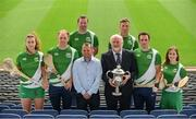 25 July 2017; In attendance at the M.Donelly Poc Fada Finals Launch are from left, Faye McCarthy of Dublin, Kevin Moran of Waterford, Brendan Cummins of Tipperary, Wexford hurling manager Davy Fitzgerald, Martin Donnelly of MD Sports, Anthony Nash of Cork, James McInerney of Clare, and Aoife Murray of Cork, at Croke Park in Dublin. Photo by Sam Barnes/Sportsfile