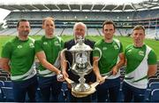 25 July 2017; In attendance at the M.Donelly Poc Fada Finals Launch are from left, Brendan Cummins of Tipperary, Kevin Moran of Waterford, Martin Donnelly of MD Sports, James McInerney of Clare and Anthony Nash of Cork,  at Croke Park in Dublin. Photo by Sam Barnes/Sportsfile