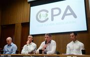 25 July 2017; In attendance are CPA executive members, from left, Michael Higgins, National Registration Coordinator, Anthony Moyles, Treasurer, Michéal Briody, Chairman, and Aaron Kernan, Grassroots Coordinator, during a Club Players Association Press Conference as the CPA unveil a national fixture plan and call out for the GAA to set April aside for club activity only. Campus Conference Centre, National Sports Campus, Abbotstown, in Dublin. Photo by Piaras Ó Mídheach/Sportsfile