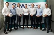 25 July 2017; CPA executive members, from left, Derek Kavanagh, Football Fixtures Coordinator, Liam Griffin, Hurling Fixtures Coordinator, Anthony Moyles, Treasurer, Michéal Briody, Chairman, Greg Devlin, PR, Marketing & Communications Coordinator, Michael Higgins, National Registration Coordinator, and Aaron Kernan, Grassroots Coordinator, before a Club Players Association Press Conference as the CPA unveil a national fixture plan and call out for the GAA to set April aside for club activity only. Campus Conference Centre, National Sports Campus, Abbotstown, in Dublin. Photo by Piaras Ó Mídheach/Sportsfile