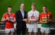 26 July 2017; Dermot Earley, Chief Executive of the GPA, presents the GAA/GPA Player of the Month awards for June to Kildare footballer Daniel Flynn alongside GAA/GPA Players of the Month for May, Carlow footballer Paul Broderick, and Cork hurler Conor Lehane, at Croke Park in Dublin. Photo by Cody Glenn/Sportsfile