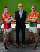 26 July 2017; Dermot Earley, Chief Executive of the GPA, presents the GAA/GPA Player of the Month awards for May to Cork hurler Conor Lehane and Carlow footballer Paul Broderick at Croke Park in Dublin. Photo by Cody Glenn/Sportsfile