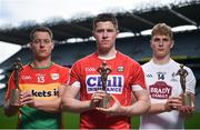 26 July 2017; Carlow footballer Paul Broderick, Cork hurler Conor Lehane, GAA/GPA Players of the Month for May, and Kildare footballer Daniel Flynn, GAA/GPA Player of the Month for June, at Croke Park in Dublin. Photo by Cody Glenn/Sportsfile