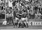 15 June 1988; Ronnie Whelan of Republic of Ireland, hidden, is congratulated by team-mates Kevin Sheedy, left, John Aldridge, centre, and Ray Houghton after scoring their side's goal during the UEFA European Football Championship Finals Group B match between Republic of Ireland and USSR at the Niedersachen Stadium in Hanover, Germany. Photo by Ray McManus/Sportsfile