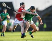 26 July 2017; Colin Ryan of Limerick in action against Jack O'Connor of Cork during the Bord Gáis Energy Munster GAA Hurling Under 21 Championship Final match between Limerick and Cork at the Gaelic Grounds in Limerick. Photo by Stephen McCarthy/Sportsfile