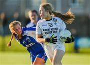 26 July 2017; Deirdre Doyle of Kildare in action against Annie Fitzgerald of Waterford during the All Ireland Ladies Football Under 16 B Final match between Kildare and Waterford at John Locke Park in Callan, Co Kilkenny. Photo by Matt Browne/Sportsfile