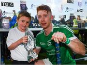 26 July 2017; Cian Lynch of Limerick receives the Man of the Match Award from Michael Murphy, age 7, from Ballygiblin Hurling Club, Mitchelstown, Cork, after the Bord Gáis Energy Munster GAA Hurling Under 21 Championship Final match between Limerick and Cork at the Gaelic Grounds in Limerick. Photo by Stephen McCarthy/Sportsfile