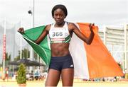 27 July 2017; Team Ireland's Rhasidat Adeleke, from Tallaght, Dublin, after finishing second and winning a silver medal in the women's 200m final during the European Youth Olympic Festival 2017 at Olympic Park in Gyor, Hungary. Photo by Eóin Noonan/Sportsfile
