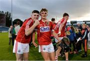 27 July 2017; Blake Murphy of Cork, left, and team mate Liam Ryan celebrate following the GAA Hurling All-Ireland U17 Championship Semi-Final match between Cork and Galway at Semple Stadium in Thurles, Tipperary. Photo by Sam Barnes/Sportsfile
