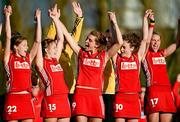 25 March 2012; Belgium players celebrate their side's victory. Women's 2012 Olympic Qualifying Tournament Final, FIH Road to London, Belgium v Ireland, Beerschot T.H.C., Kontich, Antwerp, Belgium. Picture credit: Stephen McCarthy / SPORTSFILE
