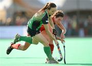 25 March 2012; Aine Connery, Ireland, in action against Anouk Raes, Belgium. Women's 2012 Olympic Qualifying Tournament Final, FIH Road to London, Belgium v Ireland, Beerschot T.H.C., Kontich, Antwerp, Belgium. Picture credit: Stephen McCarthy / SPORTSFILE