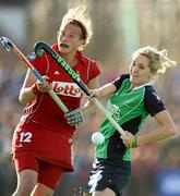 25 March 2012; Nicci Daly, Ireland, in action against Gaelle Valcke, Belgium. Women's 2012 Olympic Qualifying Tournament Final, FIH Road to London, Belgium v Ireland, Beerschot T.H.C., Kontich, Antwerp, Belgium. Picture credit: Stephen McCarthy / SPORTSFILE