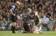 22 July 2017; Aidan O'Shea of Mayo is treated for an injury during the GAA Football All-Ireland Senior Championship Round 4A match between Cork and Mayo at Gaelic Grounds in Co. Limerick. Photo by Piaras Ó Mídheach/Sportsfile