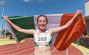 29 July 2017; Team Ireland's Sarah Healy, from Monkstown, Co. Dublin, after winning gold in the women's 1500m final at the European Youth Olympic Festival in Gyor, Hungary. Photo by Eóin Noonan/Sportsfile