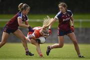 29 July 2017; Lauren McConville of Armagh in action against Rebecca Dunne, left, and Amie Giles of Westmeath during the TG4 All Ireland Senior Championship Qualifier match between Armagh and Westmeath at Lannleire GFC, Dunleer in Louth. Photo by Sam Barnes/Sportsfile