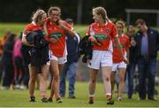 29 July 2017; Armagh players, from left, Tanya McCoy, Aimee Mackin and Denise Buckley, celebrate following the TG4 All Ireland Senior Championship Qualifier match between Armagh and Westmeath at Lannleire GFC, Dunleer in Louth. Photo by Sam Barnes/Sportsfile