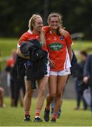 29 July 2017; Armagh players Tanya McCoy and Aimee Mackin celebrate following the TG4 All Ireland Senior Championship Qualifier match between Armagh and Westmeath at Lannleire GFC, Dunleer in Louth. Photo by Sam Barnes/Sportsfile