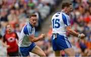 29 July 2017; Fintan Kelly of Monaghan, left, after scoring his side's first goal as team-mate Conor McManus celebrates during the GAA Football All-Ireland Senior Championship Round 4B match between Down and Monaghan at Croke Park in Dublin. Photo by Piaras Ó Mídheach/Sportsfile