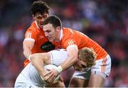 29 July 2017; Daniel Flynn of Kildare in action against James Morgan, left, and Brendan Donaghy of Armagh during the GAA Football All-Ireland Senior Championship Round 4B match between Armagh and Kildare at Croke Park in Dublin. Photo by Stephen McCarthy/Sportsfile