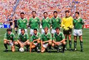 18 June 1988; The Republic of Ireland team, back row, from left, Frank Stapleton, Mick McCarthy, Tony Galvin, Paul McGrath, Pat Bonner and John Aldridge, with front row, from left, Ray Houghton, Ronnie Whelan, Chris Hughton, Chris Morris and Kevin Moran prior to the UEFA European Football Championship Finals Group B match between Republic of Ireland and Netherlands at Parkstadion in Gelsenkirchen, Germany. Photo by Ray McManus/Sportsfile