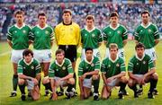 15 June 1988; The Republic of Ireland team, back row, from left, Mick McCarthy, Frank Stapleton, Pat Bonner, Kevin Sheedy, John Aldridge and Tony Galvin, with front row, from left, Ray Houghton, Ronnie Whelan, Chris Hughton, Chris Morris and Kevin Moran prior to the UEFA European Football Championship Finals Group B match between Republic of Ireland and USSR at the Niedersachen Stadium in Hanover, Germany. Photo by Ray McManus/Sportsfile