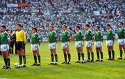 15 June 1988; The Republic of Ireland team, from left, Frank Stapleton, Pat Bonner, Ray Houghton, Ronnie Whelan, Chris Morris, Kevin Sheedy, John Aldridge, Chris Hughton, Kevin Moran and Mick McCarthy stand for the national anthem Amhrán na bhFiann prior to the UEFA European Football Championship Finals Group B match between Republic of Ireland and USSR at the Niedersachen Stadium in Hanover, Germany. Photo by Ray McManus/Sportsfile